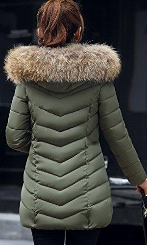 Largo Capa Invierno Outwear Verde Ejercito Parka Abrigo Capucha Mujer BLACKMYTH Abajo Chaqueta Pelo wCY0Z0xq