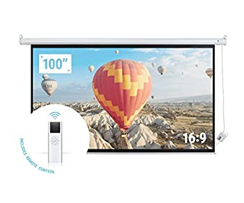 "Homegear 100"" HD Motorized 16:9 Projector Screen W/ Remote Control"