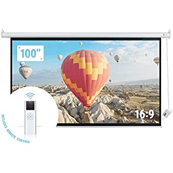 """Homegear 100"""" HD Motorized 16:9 Projector Screen W/ Remote Control"""