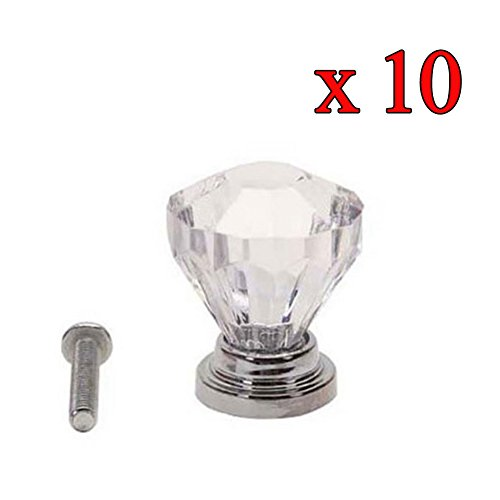 Dimart 10pcs Transparent 25mm Crystal Glass Cabinet Knobs Cupboard Drawer Pull Handles