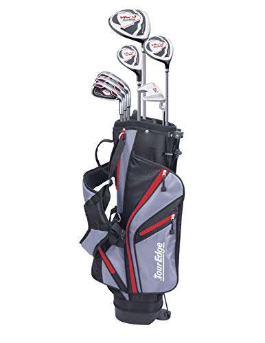 (Tour Edge HL-J Junior Complete Golf Set with Bag (Right Hand, Graphite, 1 Putter, 3 Irons, 1 Hybrid, 1 Fairway, 1 Driver 9-12) Red)