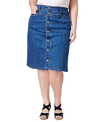Style & Co. Womens Plus Front-Yoke Denim A-Line Skirt 20W