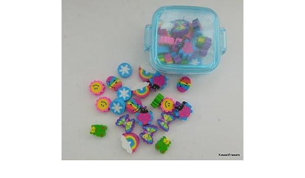 Kawaii mini-Borradores lindos en caja de plástico azul: Amazon.es ...
