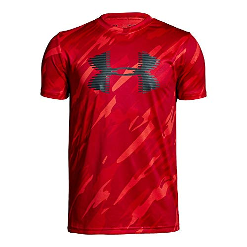 Under Armour Boys' Tech Big Logo Printed T-Shirt, Radio Red (890)/Charcoal, Youth - Red Tech T-shirt
