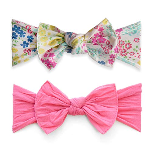 Baby Bling Bow 2 Pack: Tiny Spring and Classic Knot Girls Baby Headbands - Tiny Spring/Hot Pink (Bling Bow)