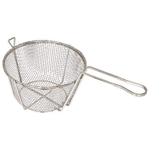 Winco FBR-9, 9-Inch 4-Mesh Round Wire Fry Basket with Handle, Heavy-Duty Deep Fryer Basket