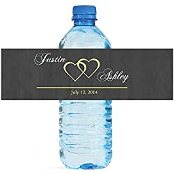 100 Modern Hearts Wedding Pattern Wedding Water Bottle Labels