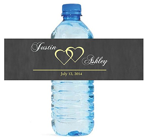 (100 Modern Hearts Wedding Pattern Wedding Water Bottle Labels )