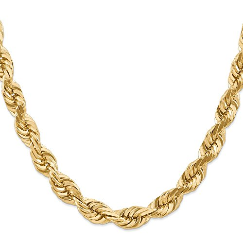 - 14k Yellow Gold Solid Sparkle-Cut Lobster Claw Closure 10mm D-Cut Rope Barrel Clasp Chain Necklace - 20 Inch
