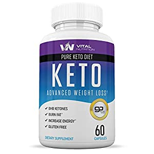 Pure Keto Diet Pills – Ketosis Supplement to Burn Fat Fast – Ketogenic Carb Blocker – Best Keto Diet Pills for Women and Men – Helps Boost Energy & Metabolism – 60 Capsules