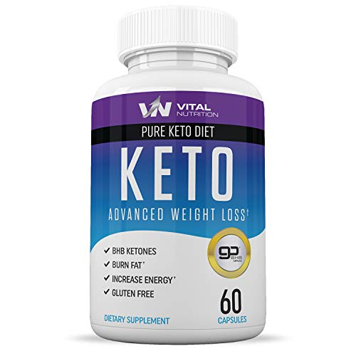 Pure Keto Diet Pills - Ketosis Supplement to Burn Fat Fast - Ketogenic Carb Blocker - Best Keto Diet Pills for Women and Men - Helps Boost Energy & Metabolism - 60 Capsules (The Best Weight Loss Pills 2019)