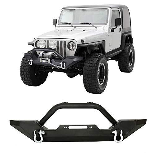 Front Bumper Winch Plate D-Ring Rock Crawler Black For 1986-2006 Jeep Wrangler TJ YJ ()