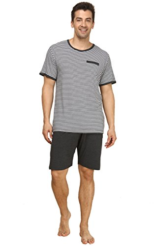 Suntasty Men's Summer Sleepwear Striped Short Sleeve Pajama Shorts and Top Set(Grey,L,1004M)