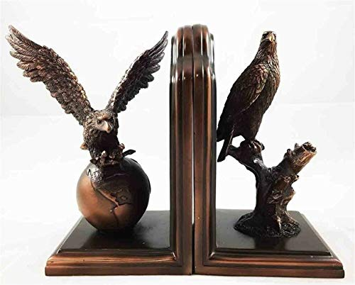 Ky & Co YK Bald Eagle Bookends Set Bronze Electroplated Figurine with Base Resin Statue