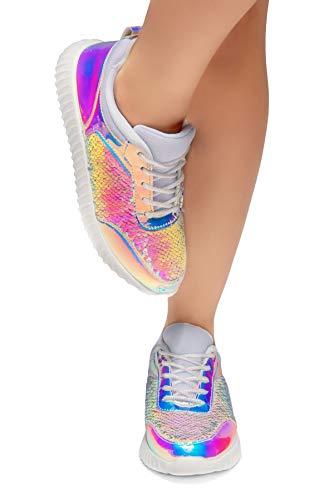 Lace Wht Glitter Sneaker Wht Herstyle Front Heel Moniqie Glitter Women's Flat Details up Fashion 8wCFwAq