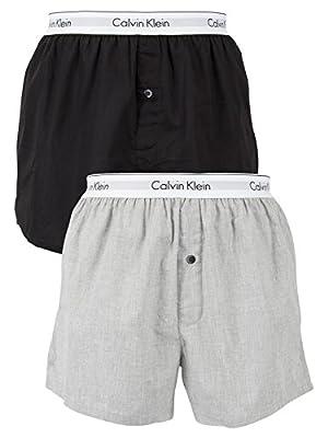 Calvin Klein Men's 2 Pack Logo Slim Fit Boxers, Multicoloured