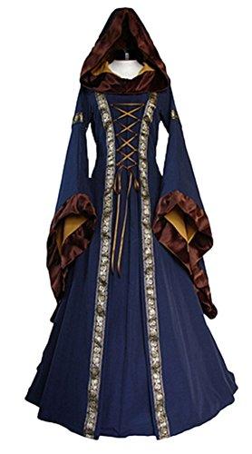 [Women's Halloween Costume Long Cosplay Renaissance Dress (S, Blue)] (Halloween Costumes Renaissance)