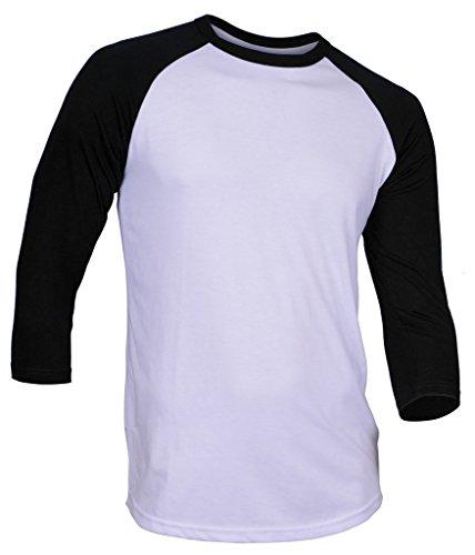 DREAM USA Men's Casual 3/4 Sleeve Baseball Tshirt Raglan Jersey Shirt White/Black 2XL