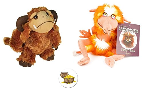 BUNDLE of Plush Ludo and Firey Figures from the Labyrinth Movie Plus a Bonus Treasure Chest Button -
