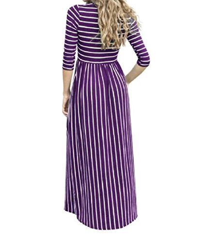 Coolred-femmes Empoché Manches 3/4 Robe Maxi Longue Loisir Rayures D'impression Motif1