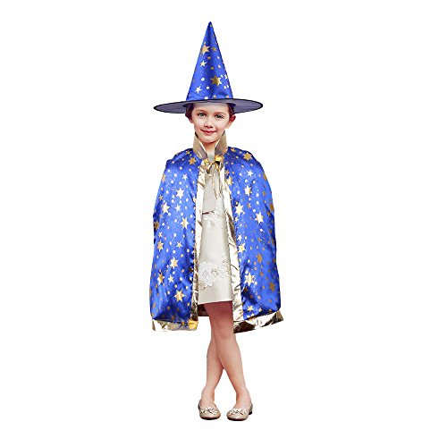 Blue Witch Costumes For Kids (TOPQSC Halloween Stars Cloak Witch Wizard Set Five Star Cape Costumes with Hat Unisex Kid Coat Gown Robe for Christmas and Cosplay Party Dress Up(Blue))