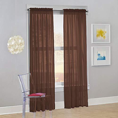 "Decotex Set of 2 Sheer Voile Transparent Window Panel Curtain Drapes (54"" W X 95"" L, Chocolate)"