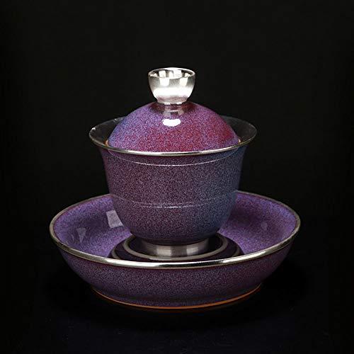 LIZONGFQ Health Ceramic Tea Bowl Authentic Enamel Large Sterling Silver 999 Handmade Vintage Tea Set 3 Piece Gift - Saucer Tea Sterling