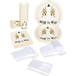 Juvale Bridal Shower Party Supplies – Serves 24 – Includes Plastic Knives, Spoons, Forks, Paper Plates, Napkins, and Cups Perfect for Bridal Parties and Festivities