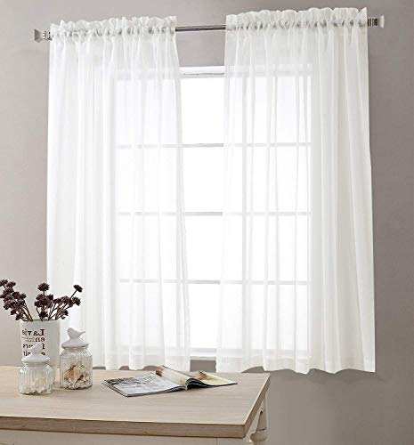 White Sheer Curtains for Living Room 63 Inch Length Rod Pocket Voile Curtain Panels for Bedroom Window Sold in Pairs (Window Panels 63 Inch Length)