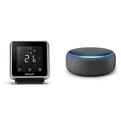 Echo Dot gris antracita + Honeywell T6R - Termostato programable inteligente inalámbrico