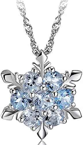 Snowflake Pendant Necklace Cubic Zirconia in Sterling Silver