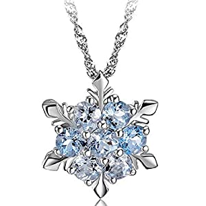 Comelyjewel Stockton Women Necklace Creative Hexagonal Snowflake Shape Crystal Necklace Pendant Women Clavicle Chain Jewelry Accessories
