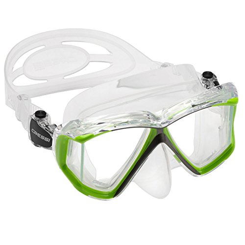 Cressi Panoramic 4 Windows Scuba Dive Mask, with Side View, Lime Green