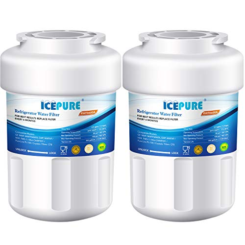 ICEPURE Refrigerator Water Filter, Compatible with GE MWF, MWFP, FMG-1,MWFA, GWF, GWFA, SmartWater, Kenmore 9991, 46-9991, 469991 [2 Pack]