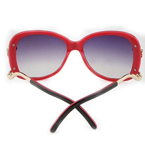 Blue Trend Red Box Mode Lunettes Color de de Soleil Soleil Yiyepoetry Lunettes Sunglasses Femme Metal 8TBOqfw