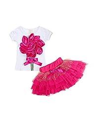ZAMME Baby Girls Short Sleeve Clothes 2pc Set Shirt+Dress