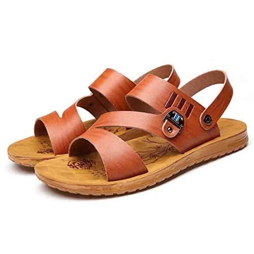 42 Sconosciuto Morbida Pantofole Outdoor Antiscivolo Da Open Spiaggia In Brown Pelle Da Traspiranti Toe Sandali Uomo UU1ZfR