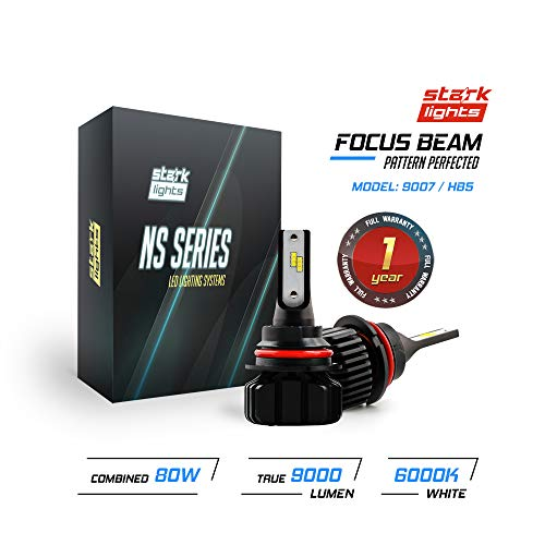 Stark N2S Series [Upgraded] 80W High Beam/Low Beam Conversion Kit - 9000LM - 6000K Crystal White - Bulb Size: 9007 / HB5 (Fixed Head Kit)