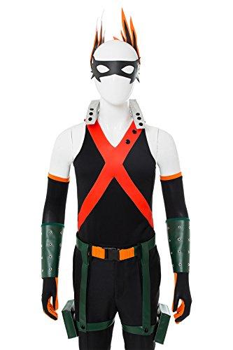 NoveltyBoy BNHA Boku No Hero My Hero Academia Katsuki Bakugou Battle Suit Cosplay Costume Tights (X-Small, Black) by NoveltyBoy (Image #4)