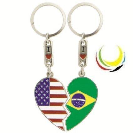 flagsandsouvenirs Keychain USA BRASIL HEART