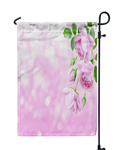 Jacrane Welcome Small Garden Flag 12X18 Inches Pale Pink Antique Roses Buds in The Corner Blurred Background Double-Sided Seasonal House Yard Flags Decorative