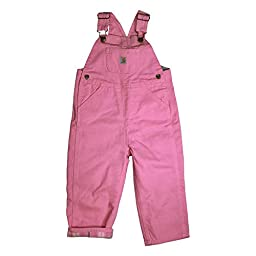 Carhartt Baby Girls\' Canvas Overall Flannel Lined, Pink, 18 Months