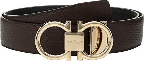 Salvatore Ferragamo Men's Rose Gold Double Gancio Reversible Belt, Brown/Black, 34