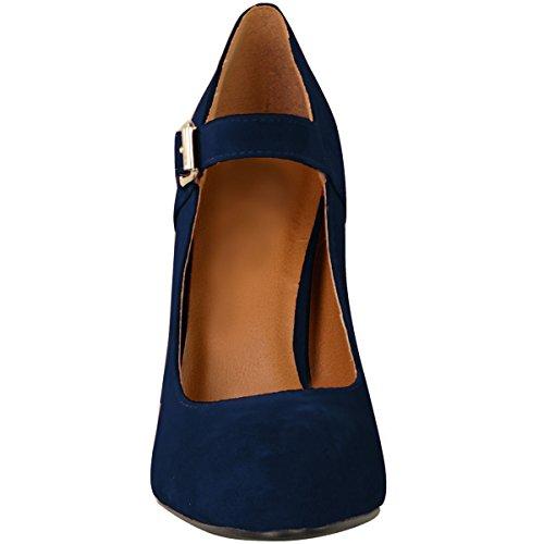 Fashion Assoiffé Womens Bloc Talons Hauts Court Chaussures Mary Jane Strappy Bureau Officiel Taille Bleu Marine Faux Daim