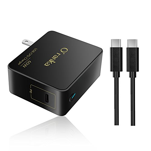 Oranka 60W USB Type C Wall Charger Power Supply Adapter Cord Compatible Apple MacBook pro Dell HP Spectre Huawei Matebook Thinkpad Xiaomi air,Type c laptops Tablet and Smart Phones (Black)