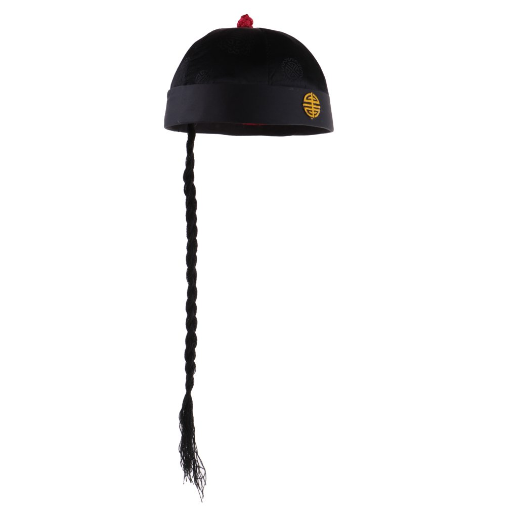 MagiDeal Adult Kids Black Chinese Oriental Cap With Ponytail Party Costume  Hat - Black 8174e65ca1f4