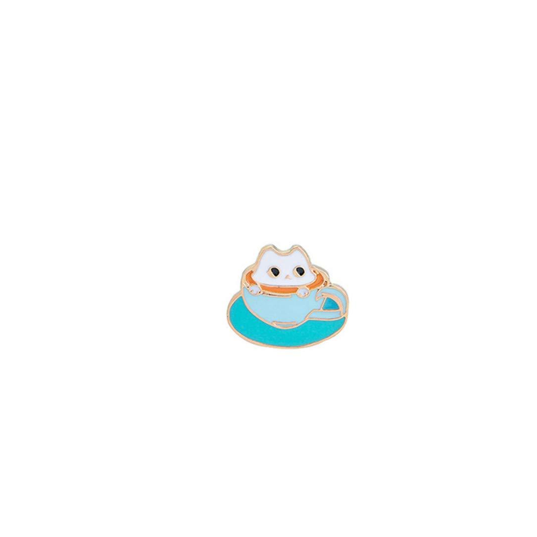 lehao Cartoon Brooch Cute Cat Beverage Donut Coffee Hamburger Pin Decorative Pin Jewelry Lapel Gifts,5#