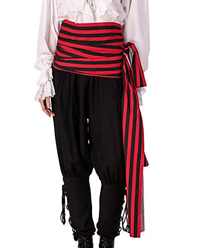 (ThePirateDressing Pirate Medieval Renaissance Halloween Cosplay Costume 100% Cotton Large Striped Sash (Black- Red))