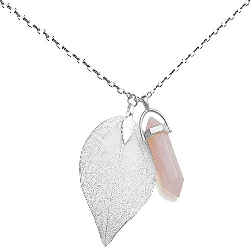 Rose Quartz Leaf (Injoy Jewelry Synthetic Rose Quartz Gemstone Necklace Crystal Healing Pointed Leaf Pendant Necklace with Silver Plated Chain)