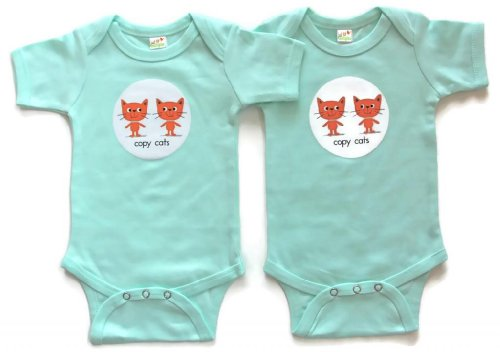 Just Multiples Twin Baby Onesies Set Copy Cats 6-12 Months Mint Green